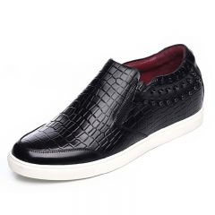 Black stone pattern elevator loafers 5.5cm / 2.17 inch height side zipped casual shoes