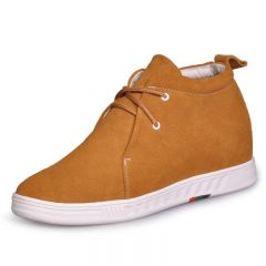 yellow Suede leather leisure and comfortable high heel ankle boots heighten 7cm/2.75inchs