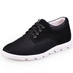 Black Suede Leather Nets Increasing Shoes For Men Grow Taller 6.5cm / 2.5inch Casual Shoes