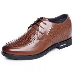 Summer extra height 8cm / 3.15inch men dress sandals brown lace up oxfords