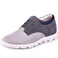 Grey Suede Leather Nets Height Shoes For Men Get Taller 6.5cm / 2.5inch Casual Shoes