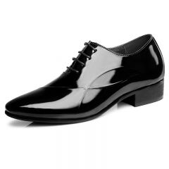 Shiny tuxedo wedding shoes add taller 6cm / 2.36inch black pointy toe elevator formal shoes