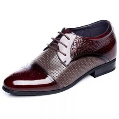 Glossy cowhide cap toe taller dress sandals 6.5cm / 2.56inch wine-red  lace up oxfords