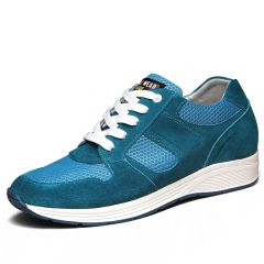 summer taller shoes for men add height  6.5cm / 2.56inches blue elevator sneakers