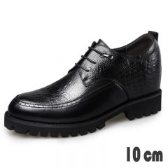 Lightweight Super Height Tuxedo Shoes Crocodile Embossed Calfskin Derbies Taller 4inch  / 10cm