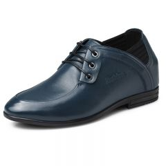 Clearance UK business casual elevator shoes 8cm / 3.15inch Blue taller office shoes