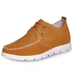 Yellow Men's quality heel lift casual shoes can be taller 2 Inches
