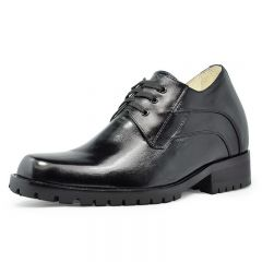 Black genuine leather extra height increasing elevator shoes 9 cm / 3.54 inch