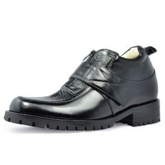 Black leather height increasing elevator boots 9 cm / 3.54inches taller height increasing boots