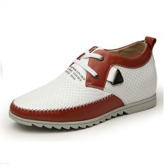 Fashion orange metrosexual elevator shoes increase tall 7cm / 2.75inches breathable height loafers
