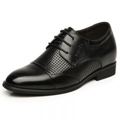 Breathable hollow out height oxfords 7cm / 2.75inches black formal sandals