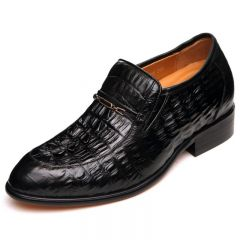 New black crocodile leather elevator business shoes 6.5cm / 2.56inches height office shoes