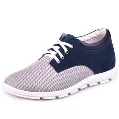 Blue Suede Leather Nets Elevator Shoes For Men 6.5cm / 2.5inch Add Height Casual Shoes