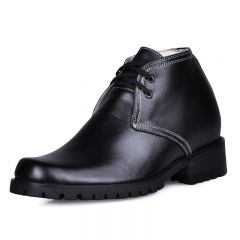 Lace up elevated height increasing elevator short boots get tall 9 cm / 3.54 inch elevator shoe
