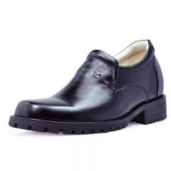 Black Genuine Leather High Heel Shoes for men with 9 cm / 3.54 inch height increase