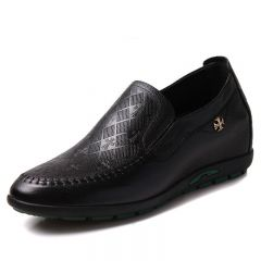 Clearance Elevator drivers shoes make men tall 6cm / 2.36inches black leather height increasing casual shoes
