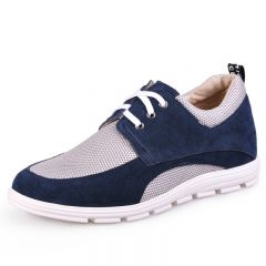Blue Net Cloth Elevator Shoes For Men Grow Taller 6.5cm / 2.5inch Suede Leather Casual Shoes