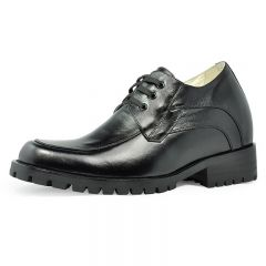 Lace Up genuine leather extra height increase dress elevator shoes 9 cm / 3.54 inch Black