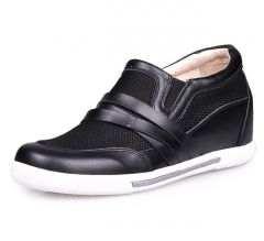 Black Summer height increasing elevator Shoes 7cm/2.75inch grow taller shoes