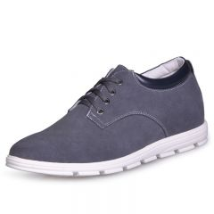 UK Grey elevator shoes men leisure sneaker shoes increasing height 6cm / 2.36inches