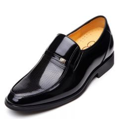 Groom elevator dress shoes increase height 6.5cm / 2.56 inches black glossy formal commercial leather shoes