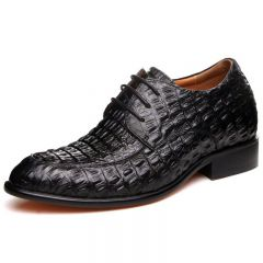 Popular handmade crocodile formal shoes increase height 6.5cm / 2.56inches Lace-up dress shoe