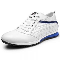 Clearance white calfskin taller sneakers 8cm / 3.2inch height increasing sports shoes